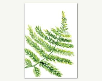 Fern Watercolor Print, Leaves Print, Tropical Print, Fern Wall Art, Printable Wall Art, Botanical Art, Home Decor, Fern Original Painting