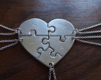 Five Piece Heart Jigsaw Puzzle Pendants with initials in a Satin Finish