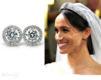 Meghan Royal Wedding Earrings White Crystal Bridal Earrings Round Cut Bride Studs Cubic Zirconia Wedding Jewelry Bridesmaid Gift Earrings
