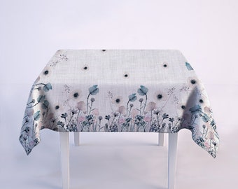 Pastel blue poppies tablecloth - 100% linen - maxi size tablecloth - matching linens set