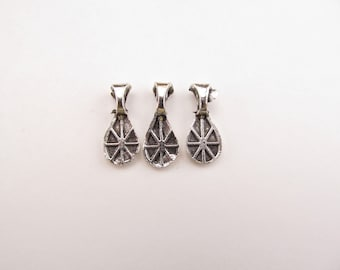 100 Waterdrop Bails - 17x7mm - CLEARANCE - IMPERFECT - Antique Silver Color - Small Glue On Bails - For Scrabble and Glass Pendants