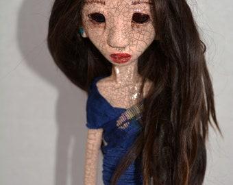 OOAK Art Doll, Sculpted Paper Clay Art Doll, Handmade Doll, Brown Suri Angora Mohair, Lalita