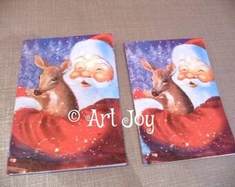 Christmas card, Christmas Cards, Santa, Deer, baby deer, snow, red, blue, note cards, post cards, decoupage, vintage, blank,
