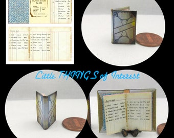 VINTAGE LEDGER Miniature Book Dollhouse 1:12 Scale Book