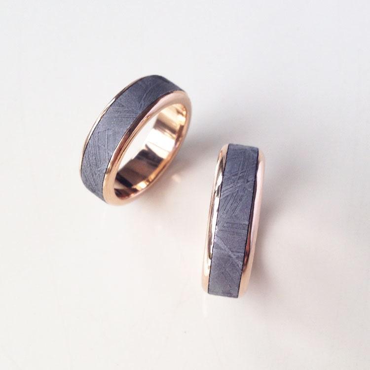 Meteorite Wedding Band Modern Round Edge Ring With