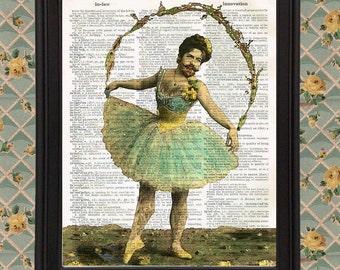 Bearded Ballerina Victorian Ephemera Postcard Yellow Flowers Transgender Pride home decor Upcycled Vintage Dictionary Page Wall Art Print