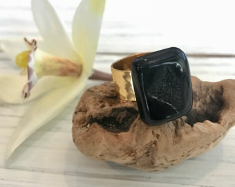 Black Druzy Ring, Agate Ring, Natural Druzy Ring, Adjustable Gold Ring, Statement Ring, Gift For Her