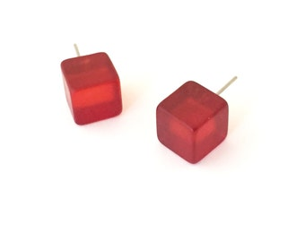 Red Studs | Frosted Ruby Red Cube Earrings | vintage lucite squares in cherry red