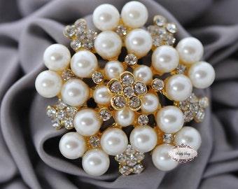 Rhinestone Pearl Brooch Embellishment - Flatback - Rhinestone Broach - Brooch Bouquet - Supply - Wedding Jewelry Supply - RD73