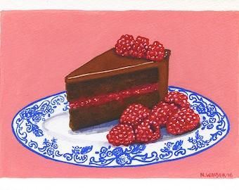 Original Art, Chocolate Cake with Raspberry Jam Filling, Detailed Gouache Painting