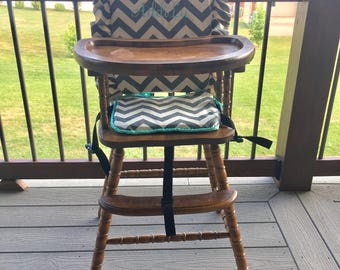 High chair cover: gray with mint trim / highchair cover/ high chair cushion / wooden high chair pad / highchair cushion / highchair pad