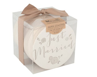 Bulk Wedding Coaster Boxed Set - Just Married with Flowers - Letterpress Paper Event Shower Favor Gift Bar Accessory