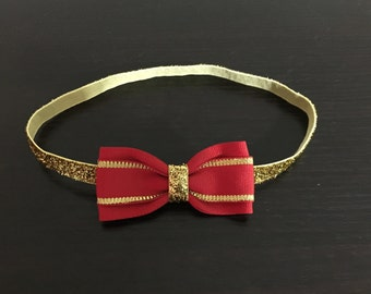 Red And Gold Headband Red Christmas Baby Headband Christmas Headband Red And Gold Bow Headband Baby Headband Glitters Headband