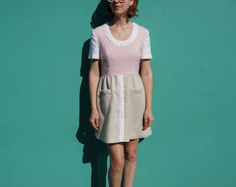Vintage 70s Mini Dress Pink Colorblock A-Line Mod Day Shift w/ Sleeves & Pockets by Shannon Rodgers for Jerry Silverman