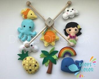 Baby Mobile, Hawaiian Mobile, Summer Beach Crib Mobile, Tropical Design, Hawaiian Girl, Pineapple, Ocean, Whale Baby Girl Nursery Decor