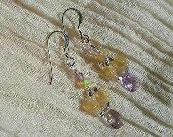 Welo opal and ametrine earrings