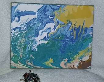 Original 3D (abstract) non-objective 8X10  acrylic painting 'Sunny Summer Day at the Beach'