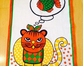 vintage cat & mouse tea towel