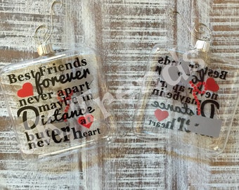 """Sentimental Ornament - """"Best friends forever, never apart, maybe in distance but not at heart"""" - Verse - Poem - Quote - Christmas - Gift"""