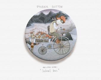 "School bus - Pinback Button Badge - 2.25"" (5.5cm)"