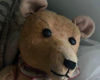 Antique Bear, old teddy bear, mohair,shoe button eyes, mohair. Hump back.