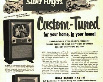 Zenith TV Ad 1952 sur le métal