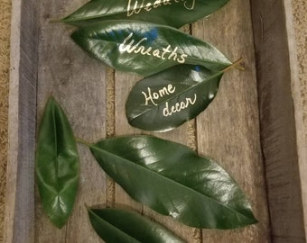 25 Fresh Southern Magnolia Leaves. Natural Wedding, Wreath Making, Leaf Place Cards, Seating Cards, Floral Supply, Florist, Home Decor