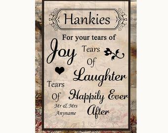 Vintage Hankies And Tissues Personalised Wedding Sign