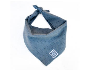 Smoky Hill Dog Bandana | Gray Dog Bandana | Handcrafted Modern Tie-on Dog Scarf