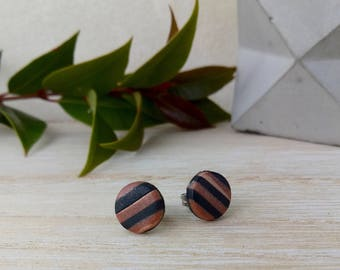 Black and copper striped stud earrings, two tone earrings, surgical steel posts, handmade in Melbourne