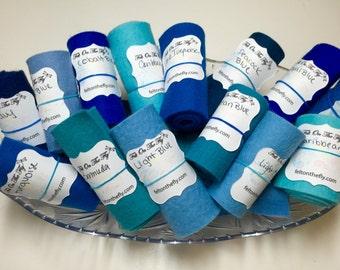 Wool Felt Rolls, Set of Three, Blue Felt, Turquoise, Remnants, DIY Crowns, Felt Flowers, Felt Ribbon, 18 Inch Roll, Applique, Wool Scraps