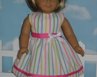 18 inch Doll Dress Handmade White with Stripes Dress