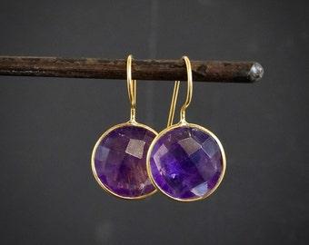 Amethyst Drop Earrings, Gold Drop Earrings, Amethyst and Gold, Round Earrings, February Birthstone