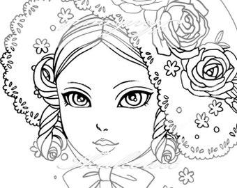 Line Art Digital Stamp Image Adult Coloring Page Printable Instant Download - Bonnet Girl