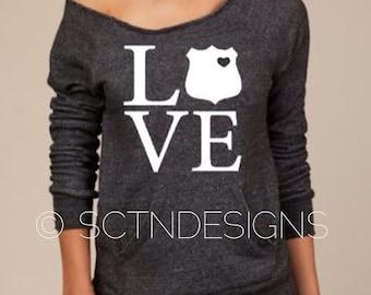 Law Enforcement Police Wife Love LEO Slouchy Sweater