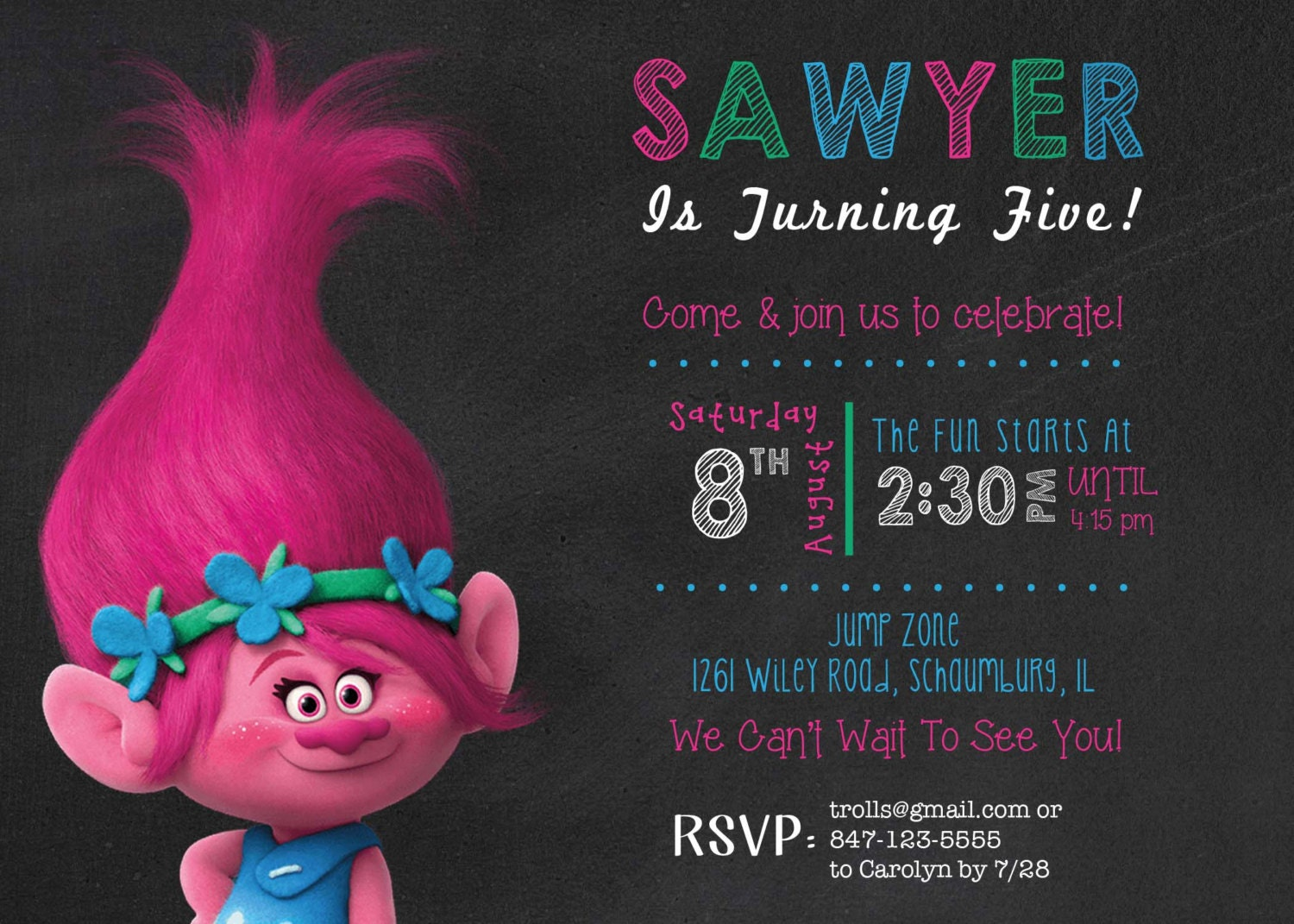 Trolls Birthday Invitation 3rd Birthday Invitation Trolls