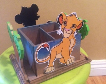 Lion King Napkin holder Utensil Caddy, center piece. Simba Centerpiece