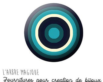 Cabochon fancy 25 mm infinite circles abstract colors teal white ref 1307