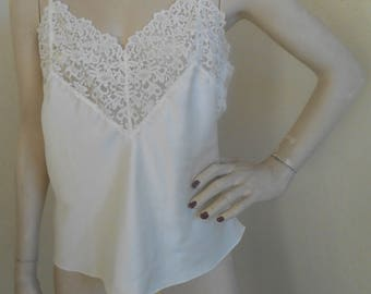 Vintage Camisole Ivory Satin Lacy Size Medium by Wacoal
