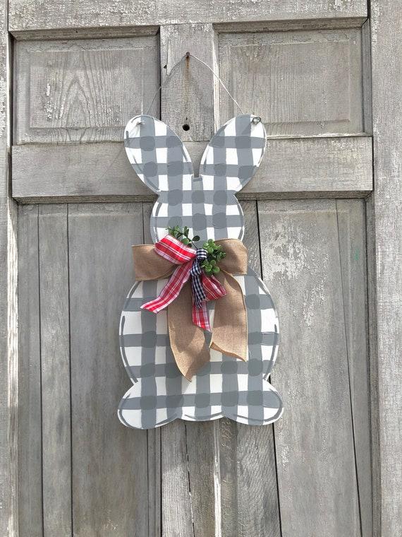 Easter door hanger,  Spring door hanger, Gingham, Rabbit door hanger, Bunny door hanger, Easter decoration, Easter bunny sign, gingham bunny