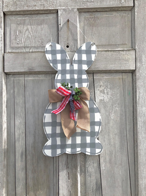 Easter door hanger Spring door hanger Gingham Rabbit door hanger Bunny door hanger Easter decoration Easter bunny sign gingham bunny & Easter door hanger Spring door hanger Gingham Rabbit door hanger ...