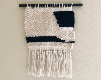 Black and white abstract weaving
