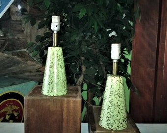 Vintage Mid Century Modern Avocado Green w/t Gold Accent Ceramic Lamps
