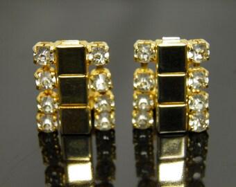 Vintage Deco Style Goldtone Rhinestone Earrings