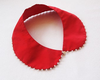 red peter pan collar-pearl embroidered collar necklace