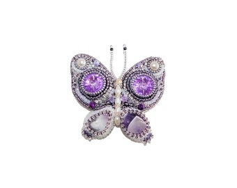 Free shipping USA & Canada. Bead Embroidered Butterfly Brooch with Amethyst, Freshwater Pearls. Purple White Bug Insect Pin Brooch Jewelry