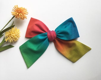 Rainbow Large Bow | Multi Colored Hair Bow | Large Hair Bow | Rainbow Oversized Bow | Rainbow Sailor Bow | Girls Rainbow