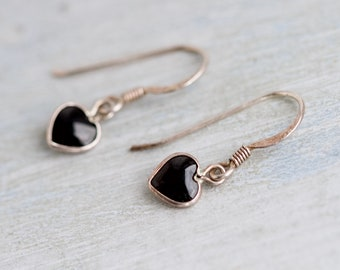 Black Hearts Earrings - Sterling Silver Small Dangle and Drop Earrings with Jet Black Glass