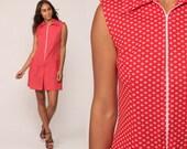 60s Romper Mod SCOOTER DRESS Playsuit Mini Polka Dot Print Red Short Culottes 1960s Twiggy Vintage Sleeveless Sixties Front Zip Medium