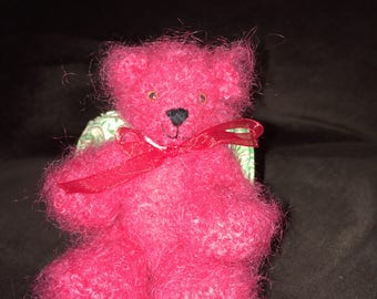 Little Red crocheted mohair bear